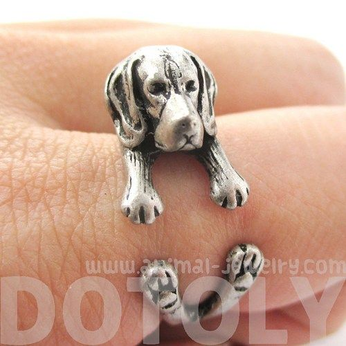3d Beagle Dog Puppy Animal Wrap Ring In Silver Sizes 4 To 8 5