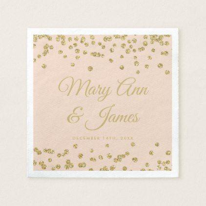 Elegant Wedding Gold Faux Glitter Confetti Blush Paper Napkin - confeti