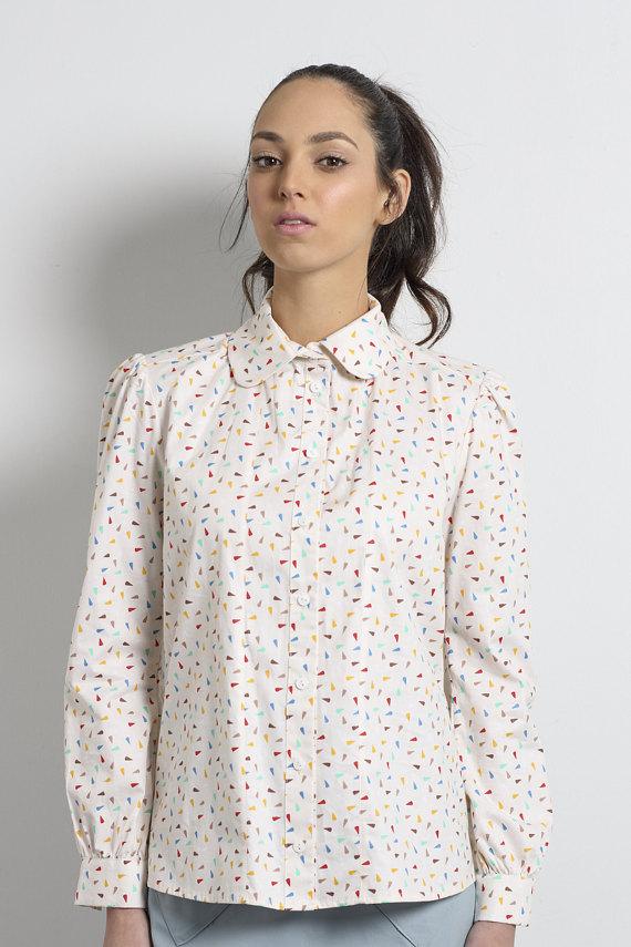 506f38c3d3fc7c SALE, Womens blouse, Long sleeve shirt , Winter top, confetti print, Women  shirt, Peter pan collar,