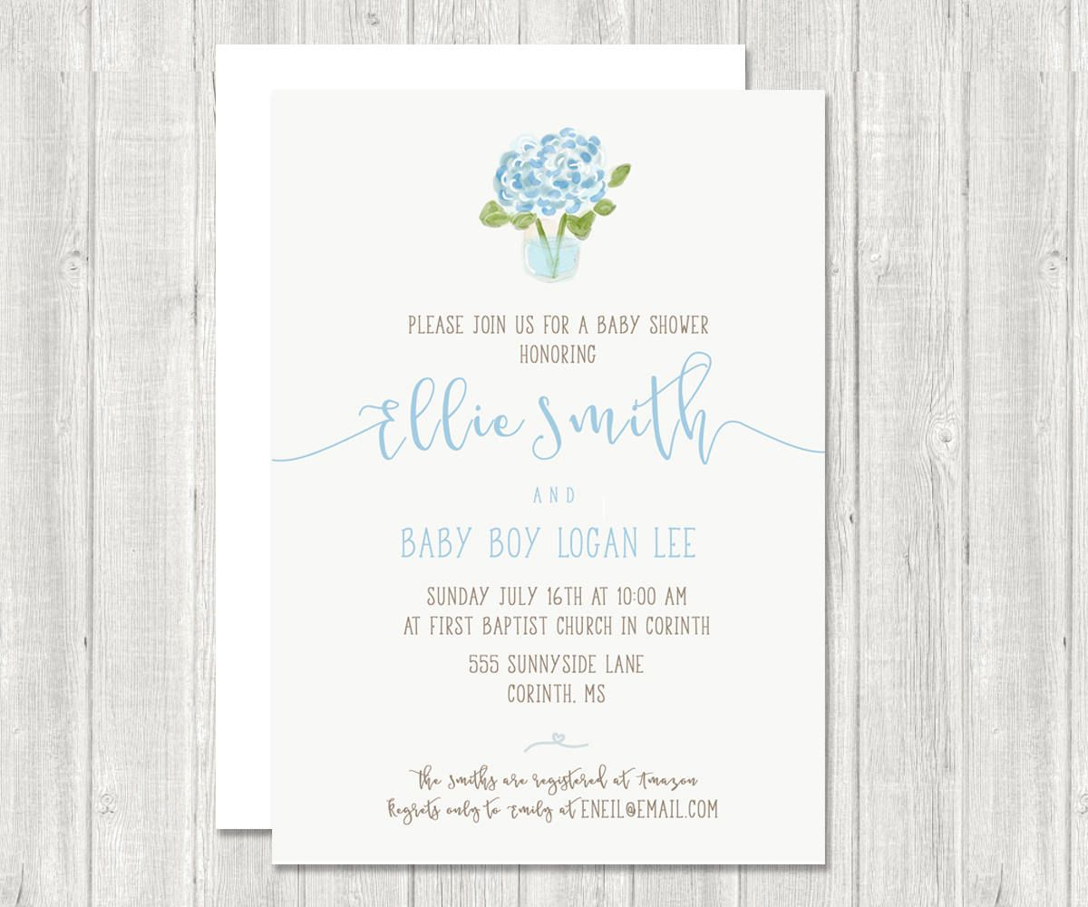 Baby Shower Invitation | Shower Invite, Hydrangea | Gender Neutral ...
