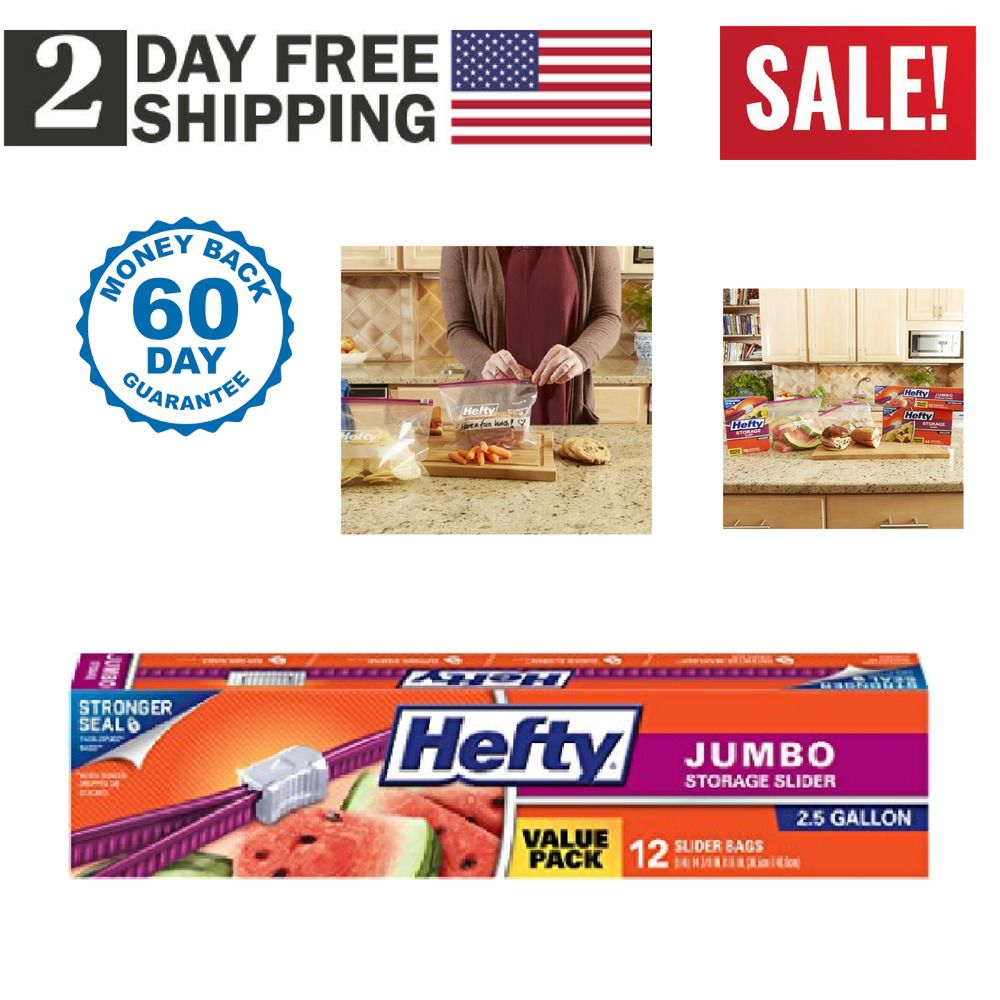 Hefty Slider Jumbo Storage Bags 2 5 Gallon 12 Count New Us Stock Fast Shippin Hefty Food Storage Bags Bag Storage New Uses