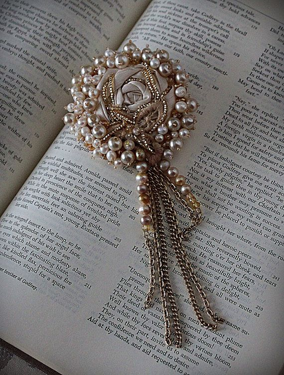 CLOTILDE Lace Pearl Brooch by carlafoxdesign on Etsy вышивка - presume v assume