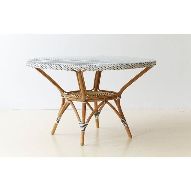 Table de jardin en rotin Danielle Blanc dominant   Patios