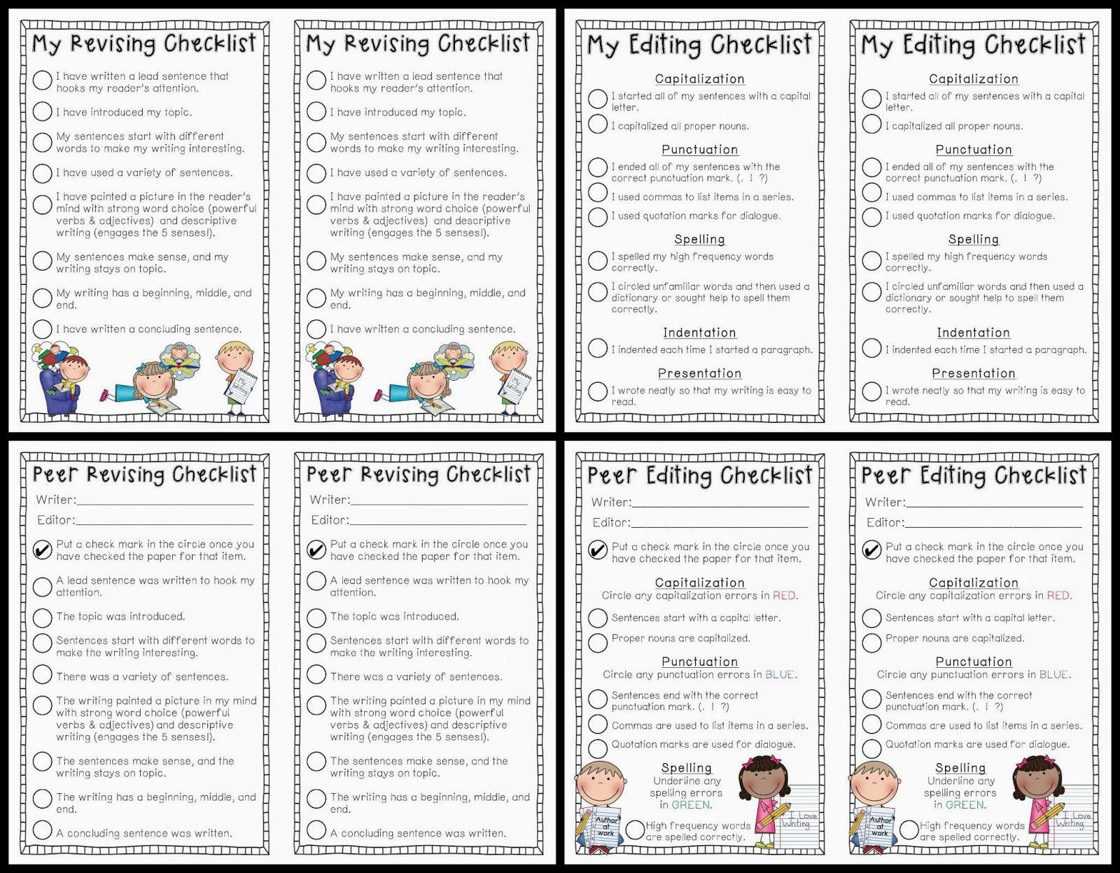 My Revising Amp Editing Checklists Peer Revising Amp Editing Checklists