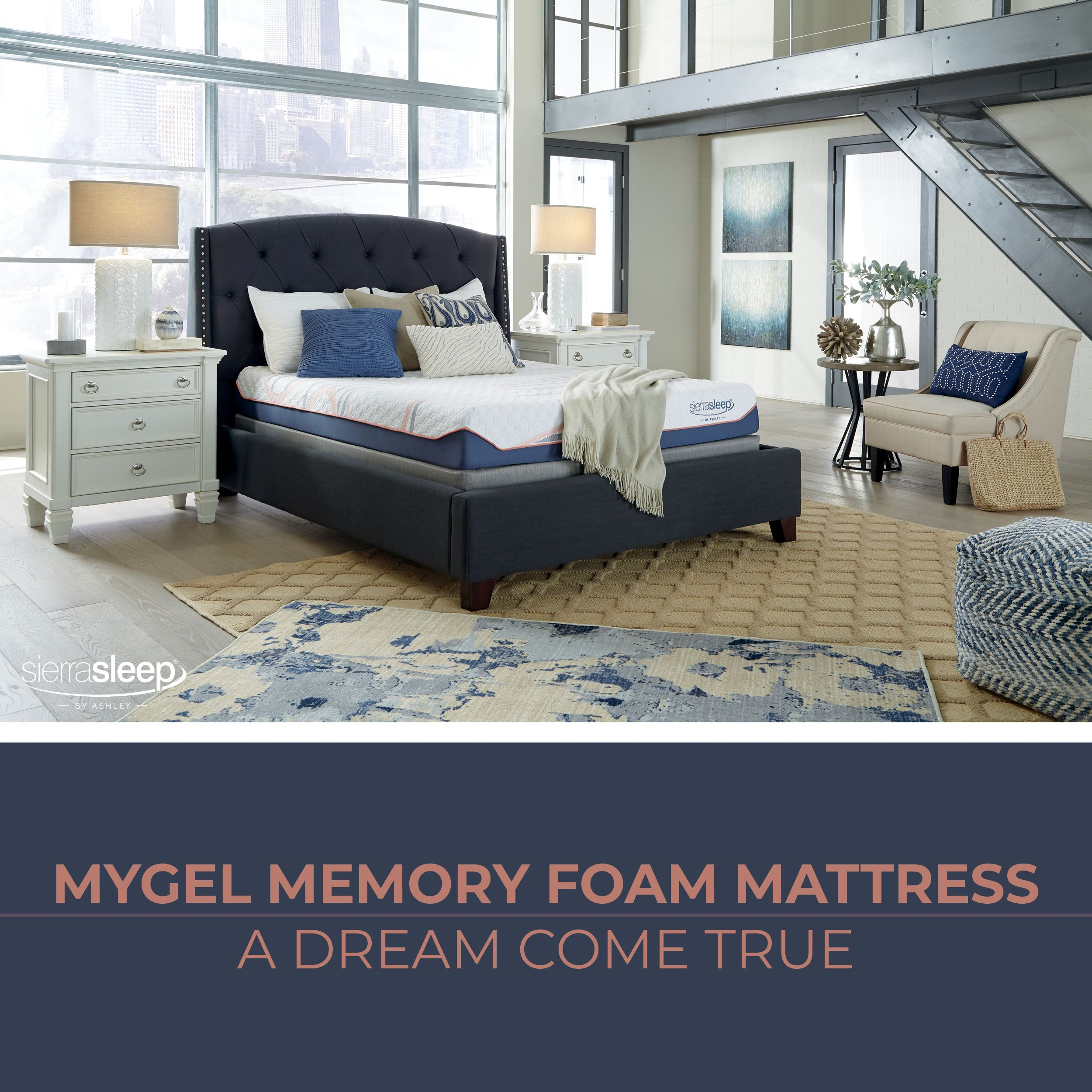 mygel memory foam firm white sierra sleep mattress by ashley