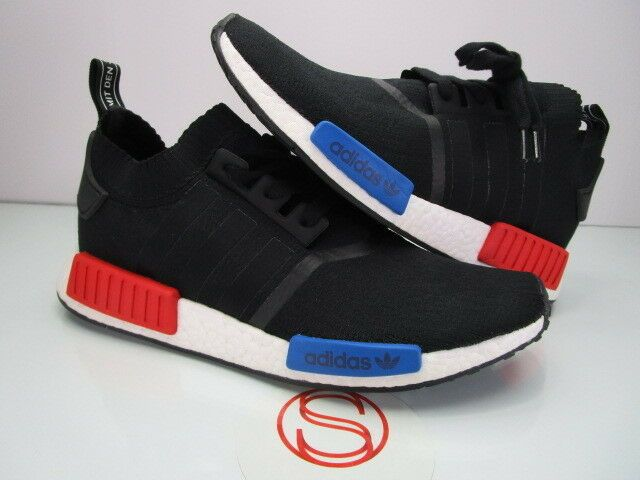 R1 NMD Adidas Primeknit PK Boost 11.5, SZ bluee, Red OG