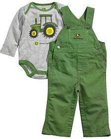 John Deere Infant-Girls White Farm Scene Overalls Set Blue//White 12 MOS