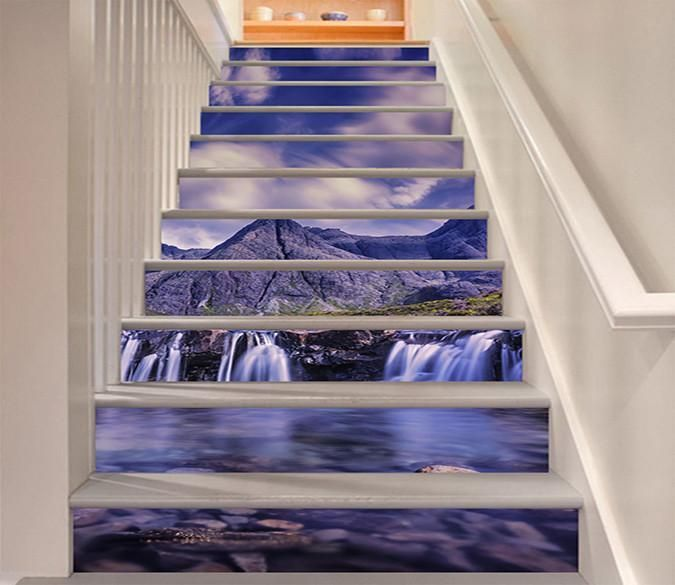 3D Mountains Flowing Rivers 918 Stair Risers