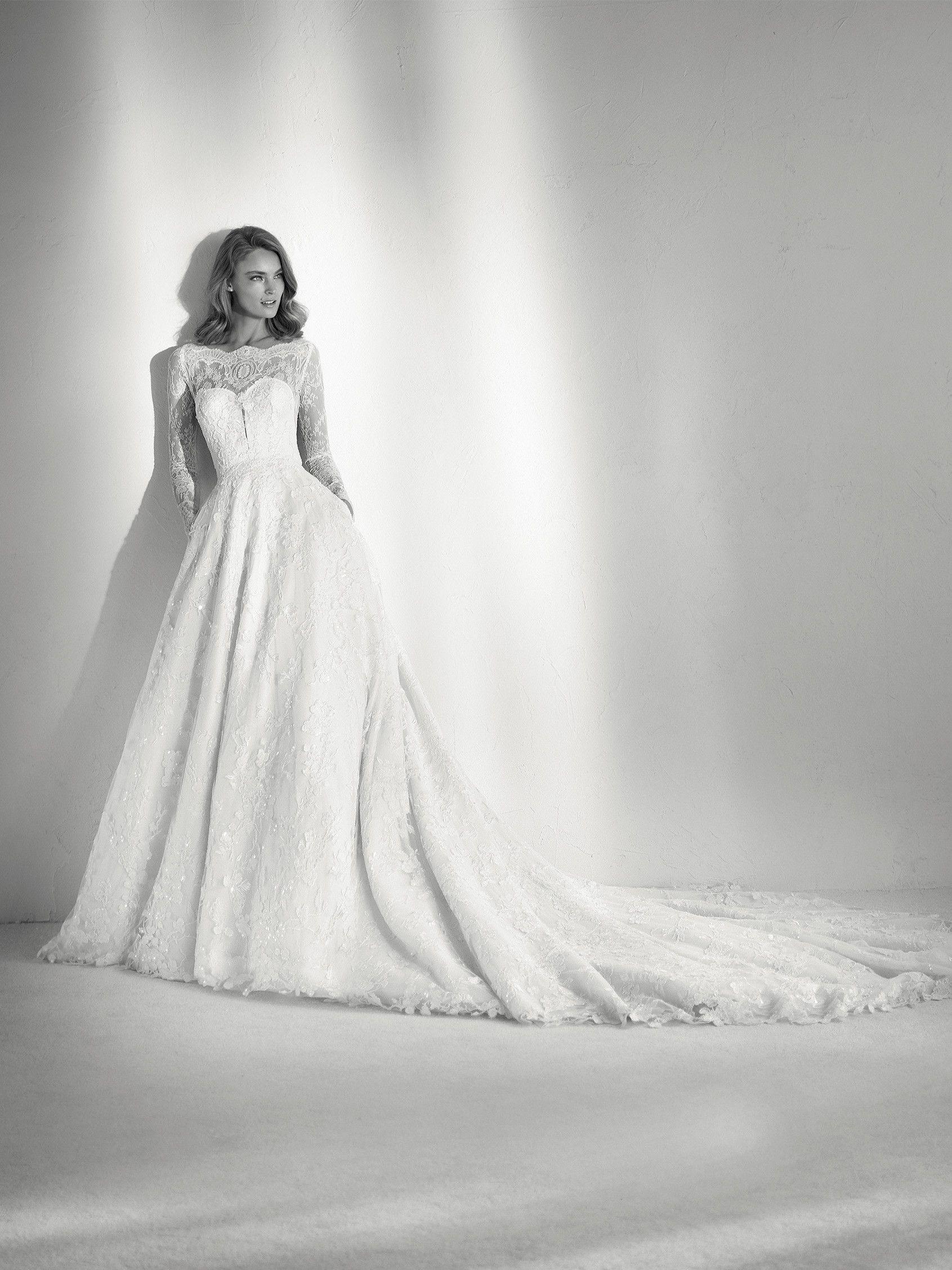 Wedding dress ballgown illusions - Pronovias 2018 Collection ...