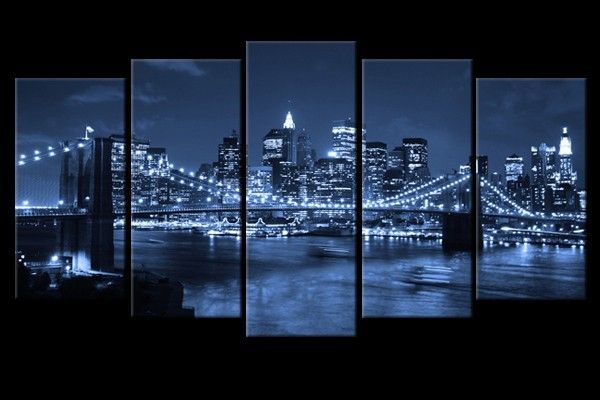 Polyptyque Pentaptyque Pont De Brooklyn De Nuit Pont De Brooklyn Photo New York Photo New