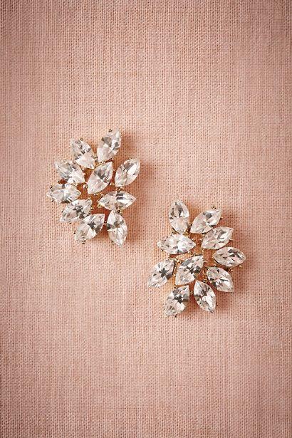Gold Marquee Crystal Earrings | BHLDN