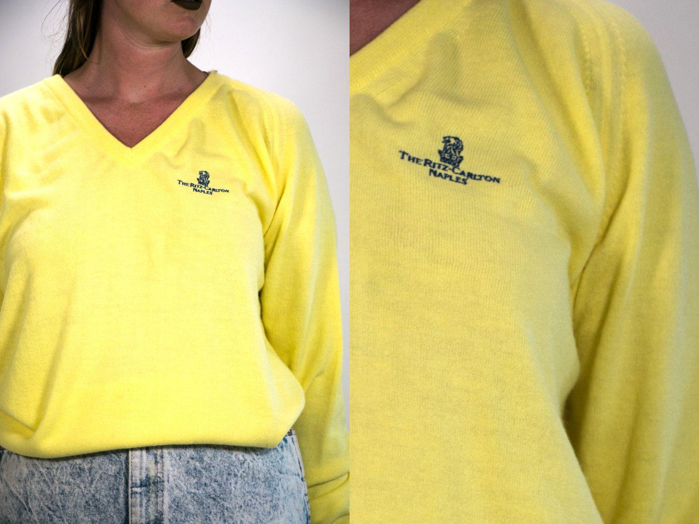 670e02055aa60 Vintage 1960's Ritz Carlton Naples V Neck Sweater in Canary Yellow ...