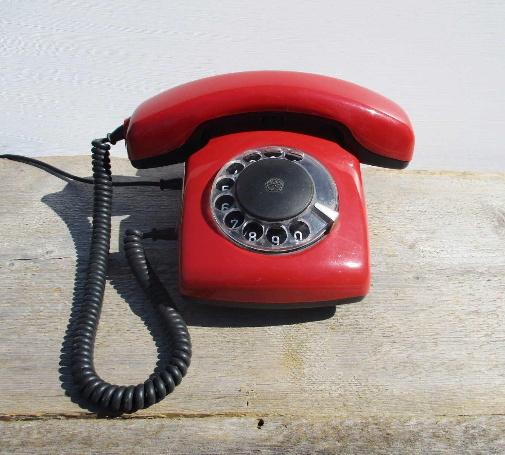 Red phone Red rotary telephone Soviet vintage phone Russian phone Table phone Retro telephone Red retro home decor Working rotary phone