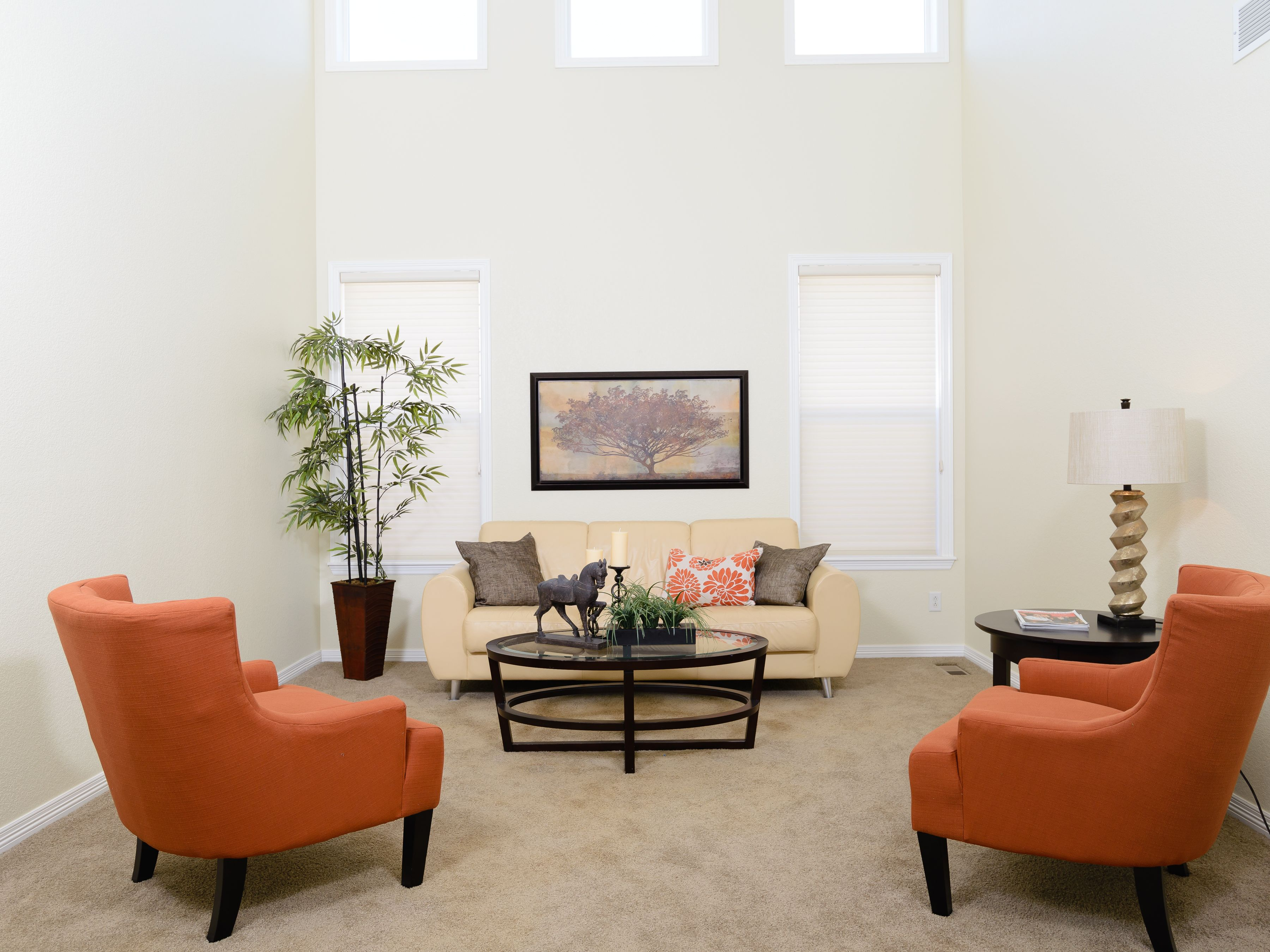 White Living Room With Orange Accent Chairs Decoracao