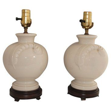 Check out this item at One Kings Lane! Porcelain Feather Lamps, Pair
