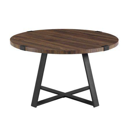 30 Inch Metal Wrap Round Coffee Table Dark Walnut Black Brown