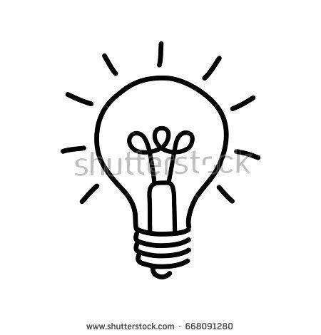 Black Lightbulb Drawing On White Background