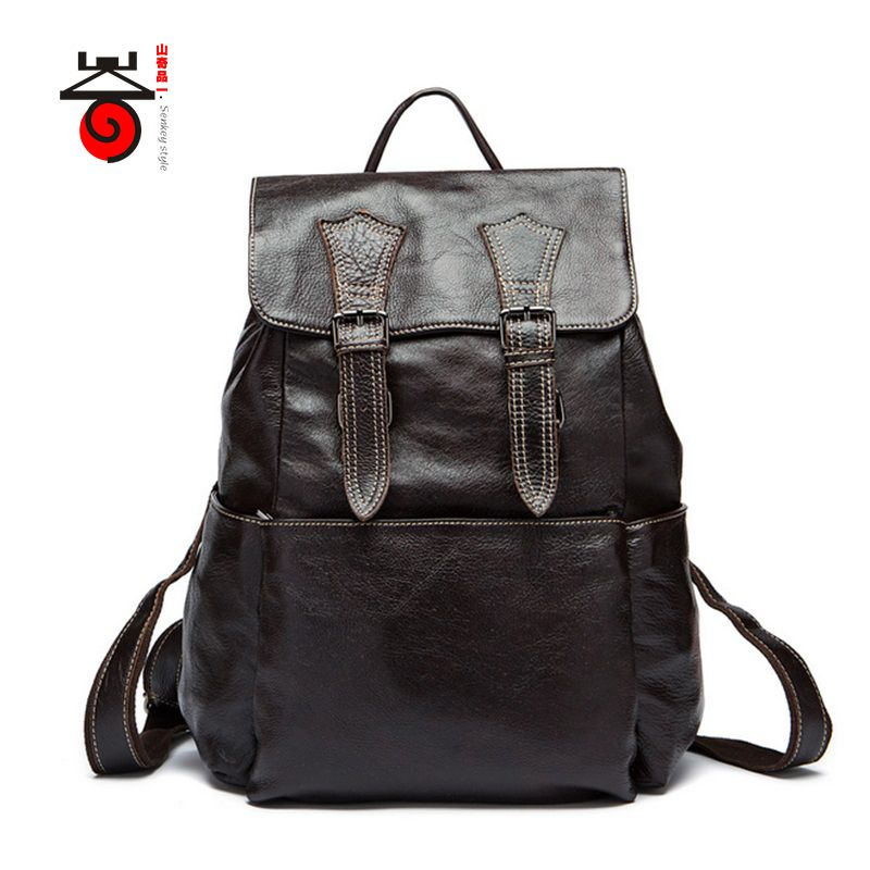 2ff29dd02a Senkey style 2017 Genuine leathe High Quality business bag men travel backpack  Fashion document real leather