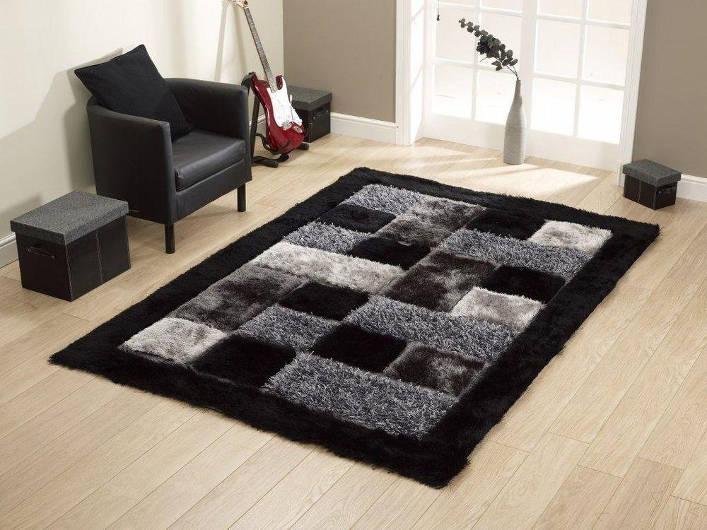 Teppich Design Modern Hochflor Longflor Fußbodenteppich Noble Schwarz  A100172