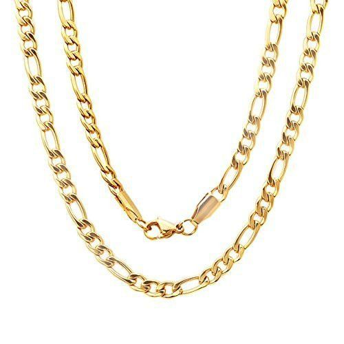 STEELTIME Men's 18k Gold Plated Stainless Steel Figaro Chain Necklace