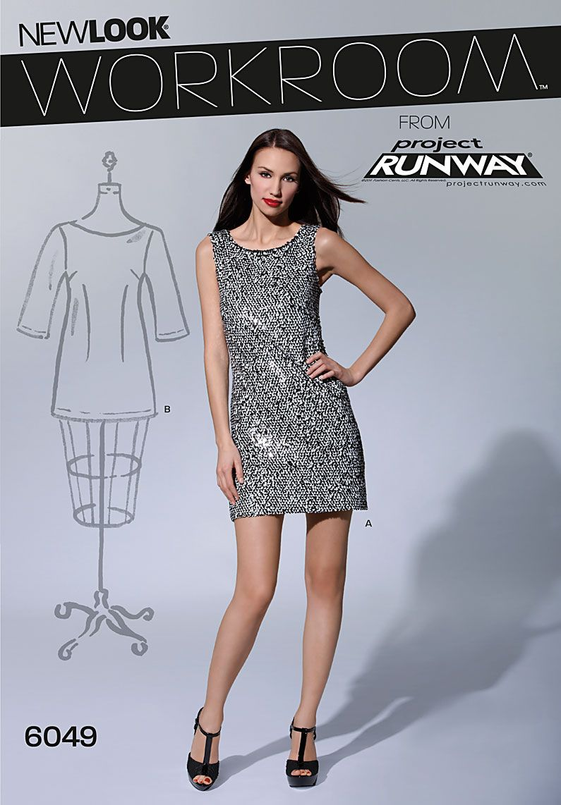 b5ba20122729 New Look 6049 - Workroom pattern from Project for Misses sleeveless mini- dress and 3/4 sleeve tunic dress.