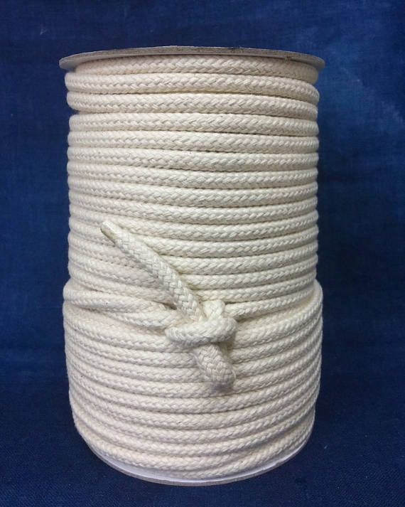 7mm Cream Cotton Braided Rope Natural Rope Cream Cotton Rope Macrame Cord Rope Decoration 50 Yard Spool Of Braided Cream Rope Rope Decor Macrame Cord Rope Crafts