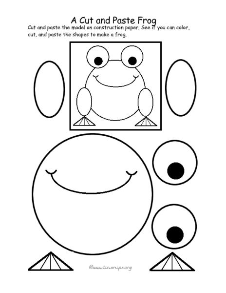 A Cut and Paste Frog Pre-K - 1st Grade Worksheet | Lesson Planet ...