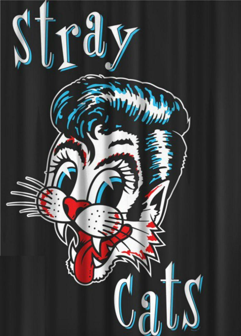 Stray Cats Logo Black Shower Curtain Cat Shower Curtain Black