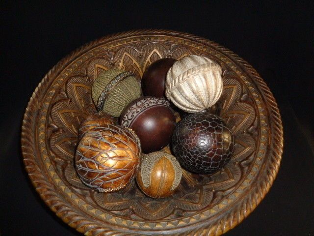 Decorative Balls For Bowls Impressive Lg Decorative Mediterranean Style Bowl & Decorative Balls Beautiful Decorating Inspiration