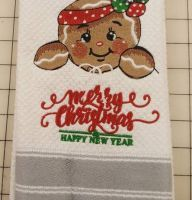 Towel with American Gingerbread embroidery design