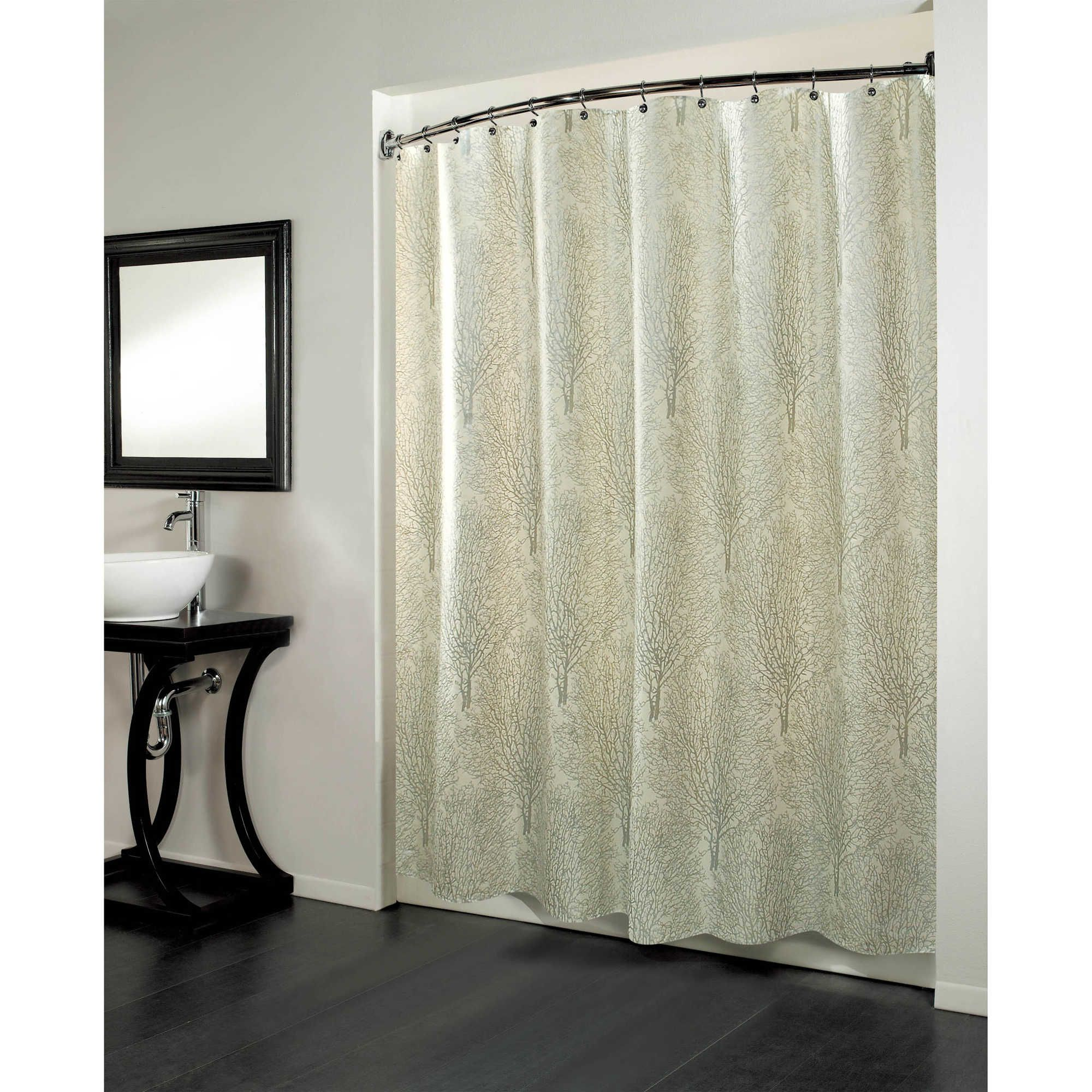 Forest inch x inch fabric metallic print shower curtain