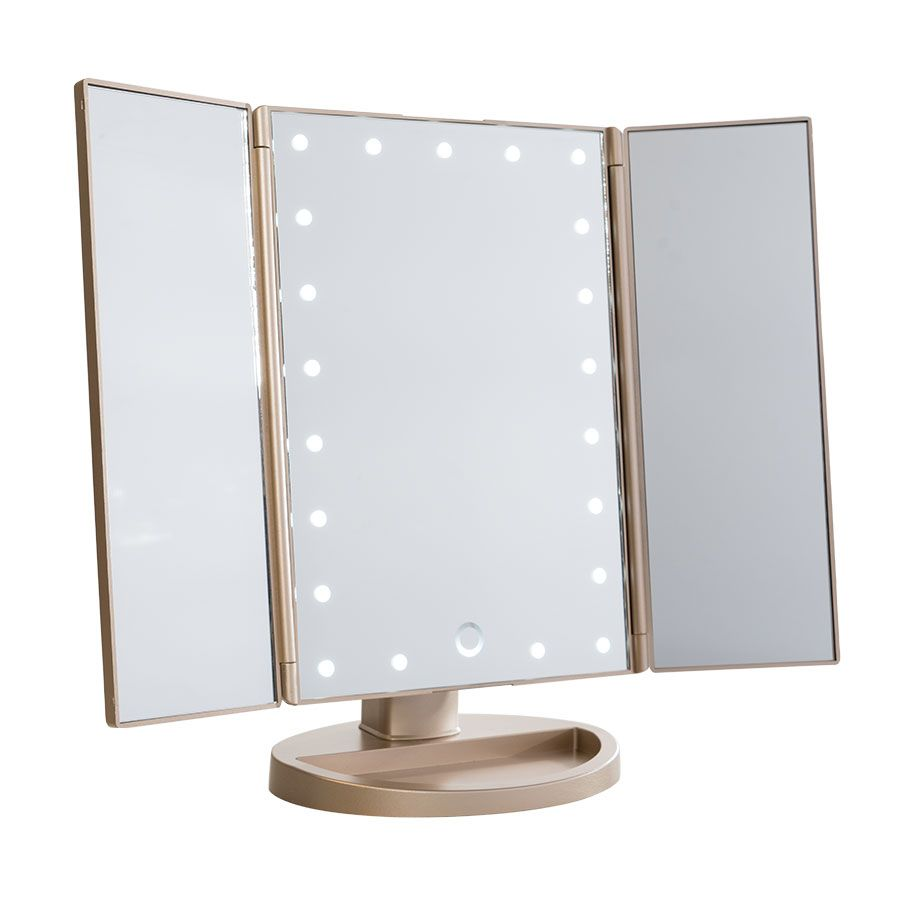 Three Way Vanity Mirror Touch Trifold Dimmable Led Makeup Mirror Makeup Vanities And Lights