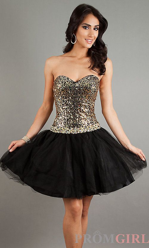 Black And Gold Homecoming Dresses With Straps - Missy Dress