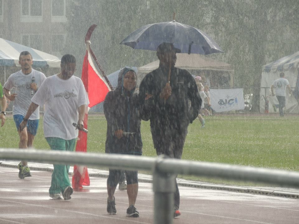 Sorors Tawa Seabrook and Stephanie T. Lynum get the dedication awards for completing their laps even when the rain came down! — MAKE A WISH FOUNDATION FUN RUN/WALK AATZ GRAD CHAPTER -BELGIUM