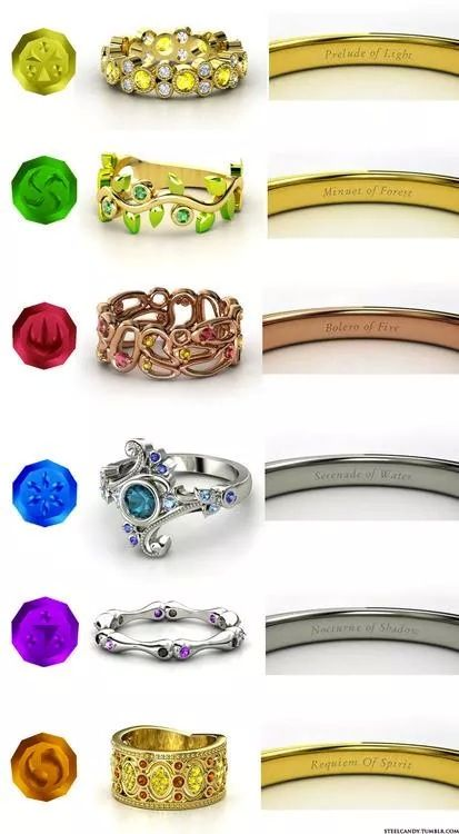 Legend Of Zelda Ocarina Of Time Rings One For Each Of The