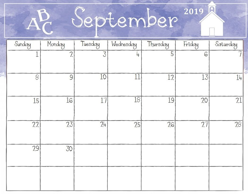 watercolor september 2019 calendar
