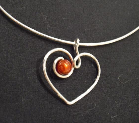 Wire heart with bead handmade jewelry pendant wire wrapped 3 wire heart with bead handmade jewelry pendant aloadofball Choice Image