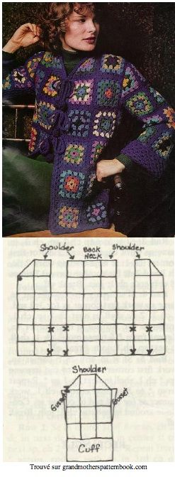 Free Crochet Granny Square Blue Jacket Pattern. This site has everything you could possibly want to make with granny squares. Épinglé à partir de grandmotherspatternbook.com
