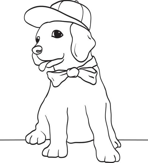 Puppy Dog Wearing A Baseball Cap And Bow Tie Coloring Page Dog Wear Dogs And Puppies Puppies