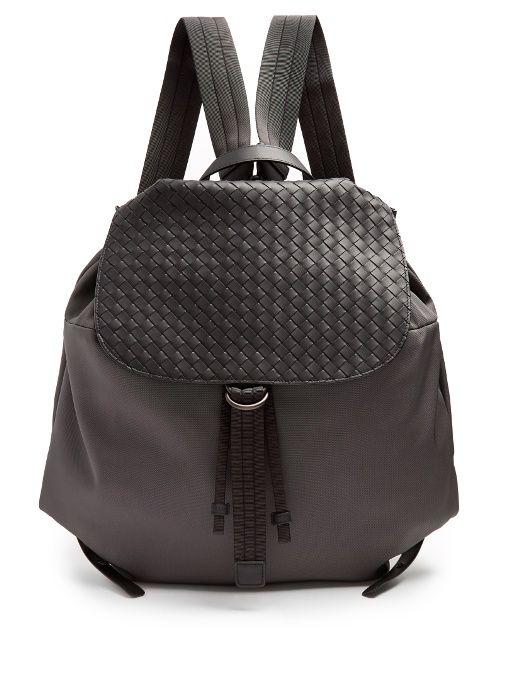 db0458eb806a BOTTEGA VENETA Canvas and intrecciato leather backpack.  bottegaveneta  bags   leather  lining  canvas  backpacks