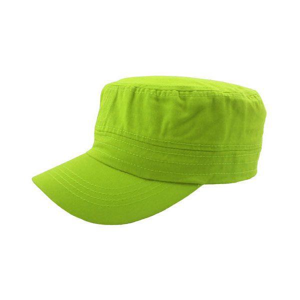 5a2d89abd3e0f New Plain Cadet Castro Military Style Hat Cap Lime Green