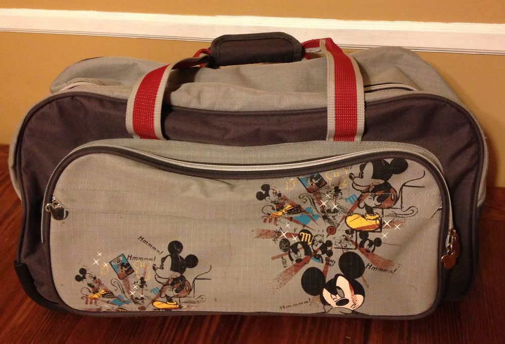 ba575038f Mickey Mouse Disney Luggage Rolling Duffle Bag Weekend Travel Rare #Disney
