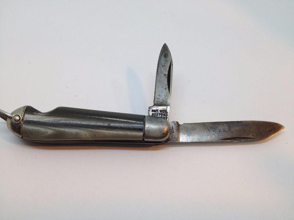 Vintage HAMMER BRAND 2 Blade Folding Pocket Knife Pat. 2037943