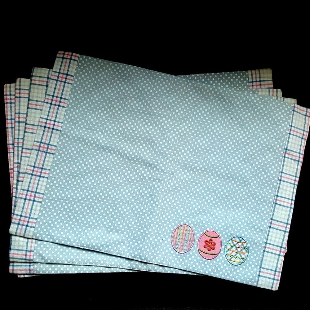 Easter Placemats Cotton Cloth Spring Eggs Pastel Polka-Dot Plaid Blue White #Unbranded