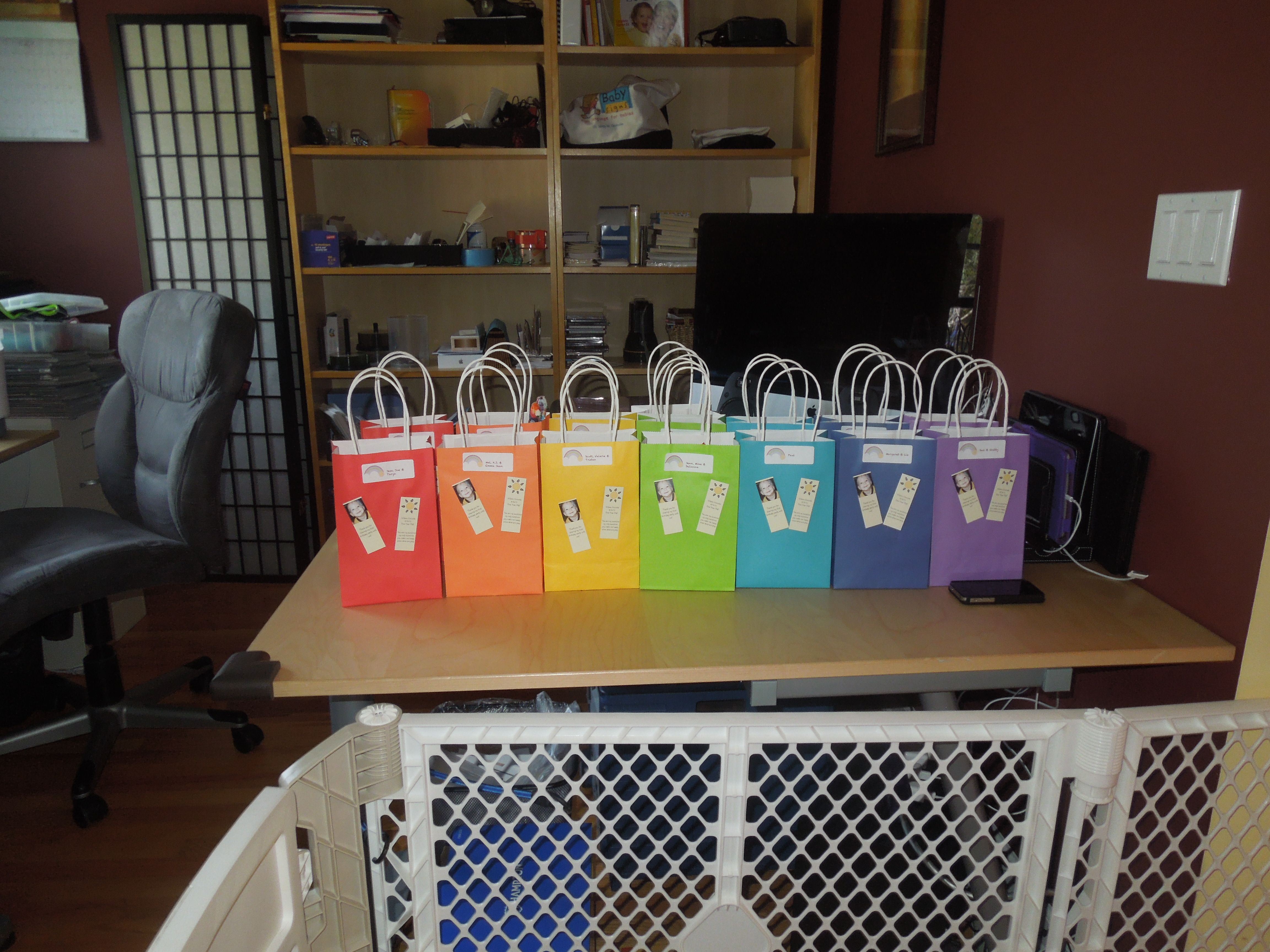party favor bags with rainbow themed candy cd with our favorite