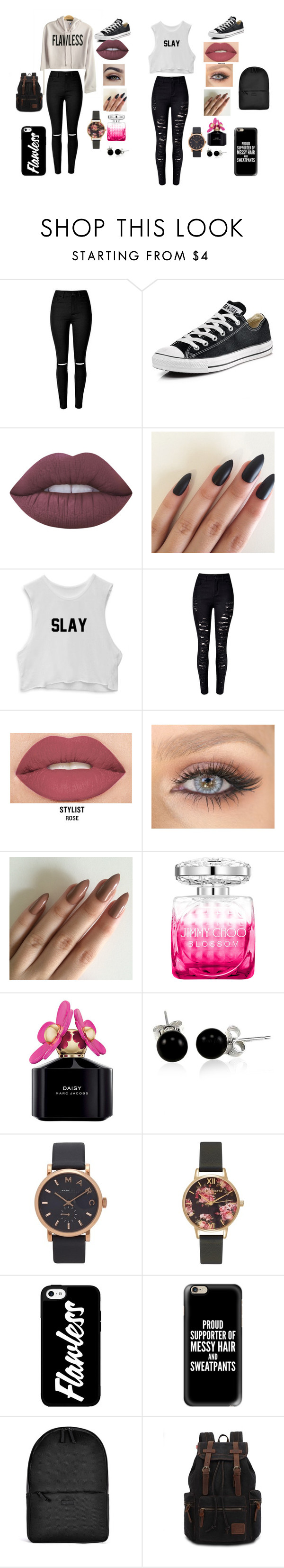 """""""bestfriend goals"""" by aniapenguin on Polyvore featuring Converse, Lime Crime, WithChic, Smashbox, Jimmy Choo, Marc Jacobs, Bling Jewelry, Olivia Burton, Casetify and Rains"""