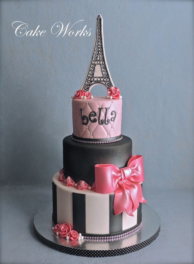 Fondant With Gum Paste Bow And Ribbon Roses Eiffel Tower Is Royal