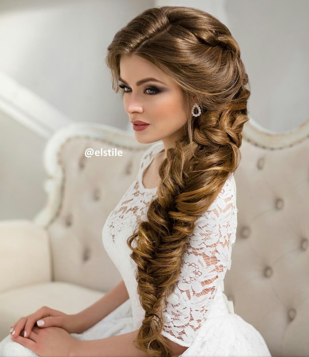 Hairstyles For Weddings 2015 Long Wavy Wedding Hairstyle And Makeup Wedding Deer And Flower