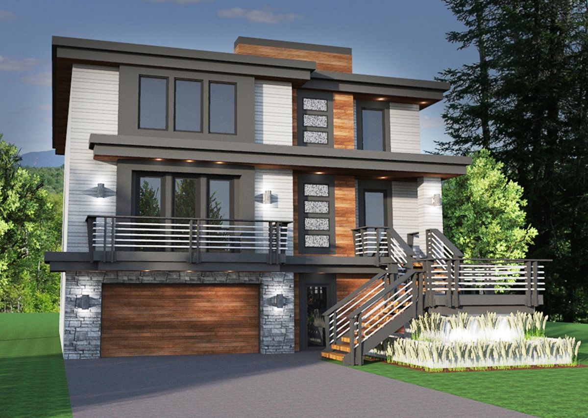 Master on main modern house plan 14633rk contemporary modern northwest narrow lot 1st floor master suite butler walk in pantry cad available