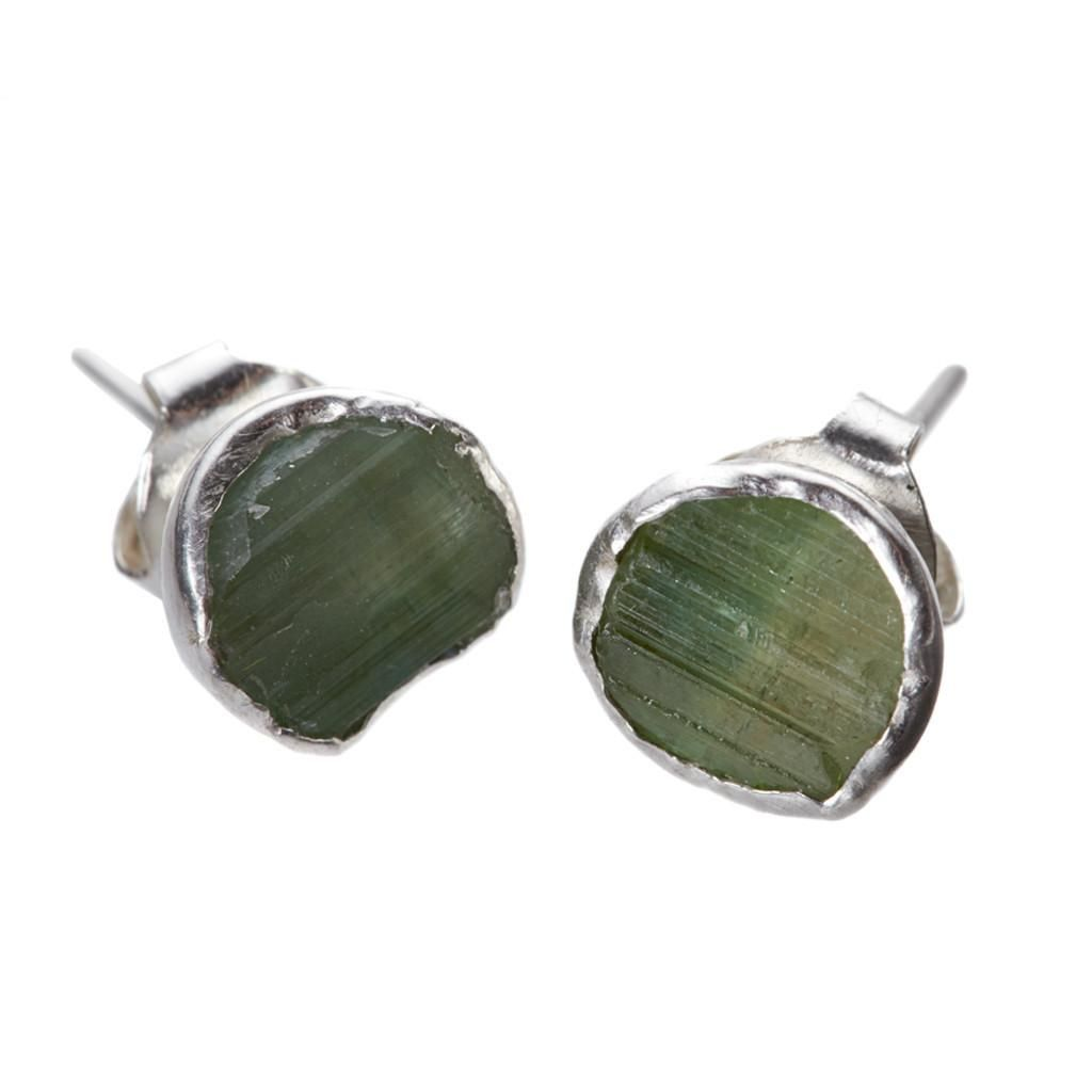Far And Wide Collective Silver Tourmaline Stud Earrings